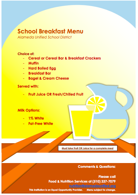 school breakfast menu